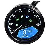 DKMOTORK 0011 Digital Gauge Motorcycle Speedometer/Tachometer/Odometer Universal with Multi-Function Indicator Light Display Black