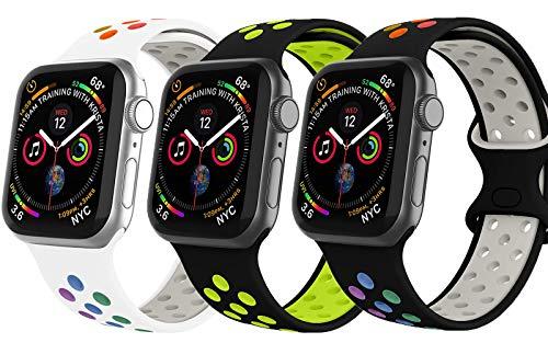 VIKATech Compatible Cinturino per Apple Watch Cinturino 40mm 38mm, Due Colori Morbido Silicone Traspirante Cinturini Sportiva di Ricambio per iWatch Series 6/5/4/3/2/1, M/L, 3Pack B