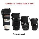 XCSOURCE 4pcs DSLR Camera Drawstring Neoprene Lens Pouch for Sony Canon Nikon Pentax Olympus Panasonic Lens S+M+L+XL (Black)