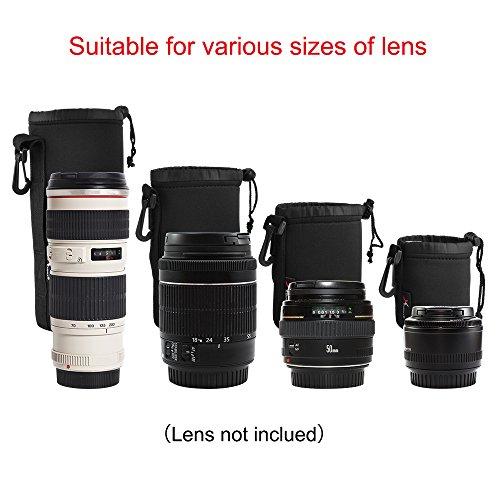 XCSOURCE 4pcs DSLR Camera Drawstring Neoprene Lens Pouch for Sony Canon Nikon Pentax Olympus...