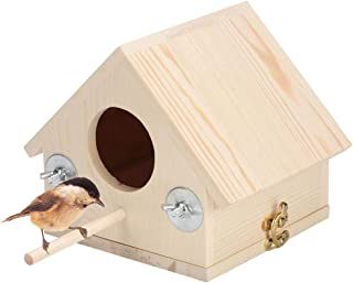kathson Wooden Bird House, Bird Hut with Perches Outdoor or Indoor, Garden Decoration for Small Birds Like Dove Finch Wren Robin Hummingbird Sparrow Throstle