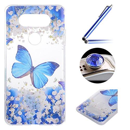 LG G5 TPU Coque étui,LG G5 Ultra-minces Silicone Doux Housse,Etsue Joli élégant Papillon Peint Motif Design Souple Gel avec Transparent Cadre de Housse Coque Coquille pour LG G5 + 1x Bleu style + 1x Bling poussière plug (couleurs aléatoires) - élégant Papillon