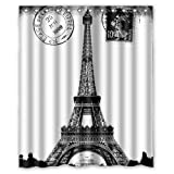 Custom Frech Paris Eiffel Tower City of Love Black White Shower Curtain [rideau de douche] 60x72inch/150x180cm) - Bathroom Decor(Fabric) [XKOWDEF0404]