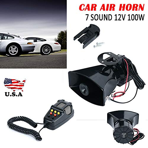 For Sale! 100W Loud Car Warning Alarm Police Fire Siren Horn Loud Speaker MIC 7 Sound -12V