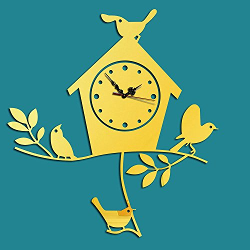 Creatieve Vogel Huis Mode Acryl Muur Stick3d Woonkamer Home Decoratie Spiegel Wandklok goud