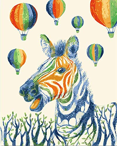 LULCLY Kleurrijke Zebra Schilderen Door Getallen Diy Dier Muurdoek Art Balloon Kleurplaten Door Getallen Kunstwerk Gift 40X50Cm