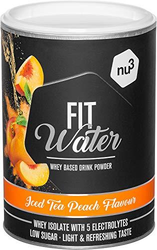 nu3 Protein Wasser Pulver 300 g in Iced Tea Peach Flavour – mit 21,4 g Iso Whey Protein pro Drink - wasserlösliches Protein mit erfrischend fruchtigem Geschmack – kalorien- und zuckerarm, vegetarisch
