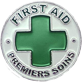 First Aid Premiers Soins Lapel Pin Green Cross Croix Verte Health Safety 1st Aider - A 144