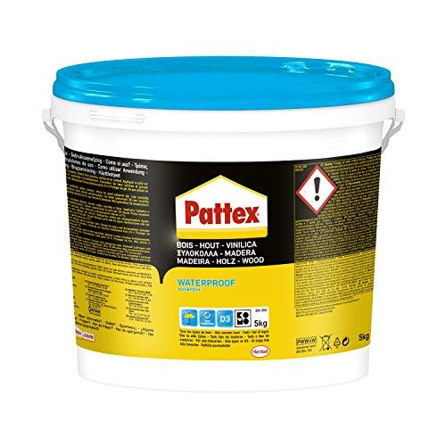Pattex Vinilica Idroresistente Colla per Legno Resistente All acqua, Adesivo Acetovinilico per Montaggi, Assemblaggi e Laminature in Ambienti Umidi e Caldi, 1 X 5Kg