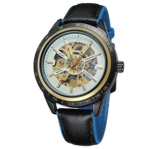 Cloudbox Reloj mecánico - Reloj mecánico automático masculino correa de cuero redondo (blanco + azul) para hombres