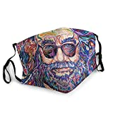 Unisex Adult Grateful De-ad Jerry Garcia Dancing Bears Face Mask Adjustable Earloop Mouth Face Cover with 2 Filter