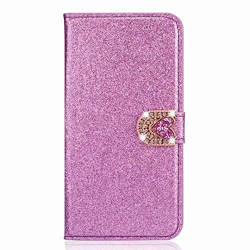 Funda para Samsung Galaxy A52 5G, funda de piel con brillantes y piedras brillantes, funda de silicona, función atril, cierre magnético, color lila