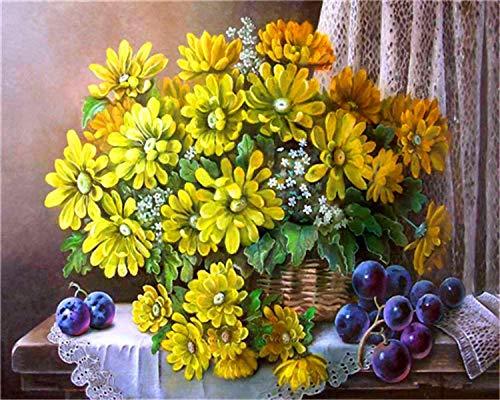 HU0QWPKU olieverfschilderij in mooie mand met bloemen om zelf te maken, romantisch, mooi model, digitaal schilderen, tekening voor kinderen, cartoon, cadeau, kunst, huisdecoratie, souvenir 30cmx40cm