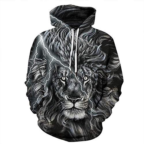 Heobe Men's Pullover Hoodie 3D Print Hooded Sweatshirts UnisexDigital Printing Hooded Casual Loose Couple,Lion Head,Large - X-Large
