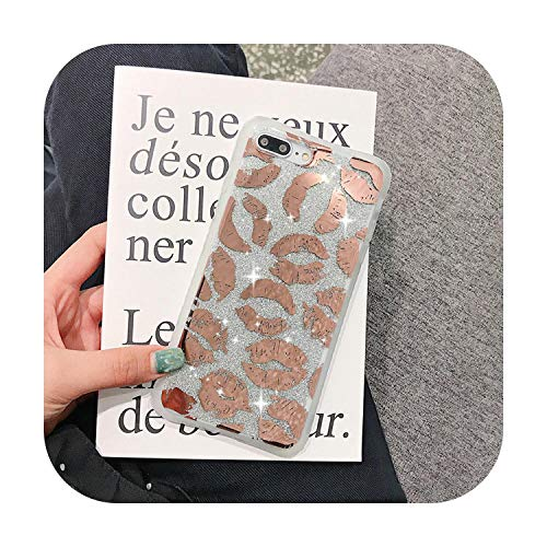 N/A per iPhone 11 Pro X Mirror Leopard Print Phone Cover per iPhone 11 Pro Xr X Max Xs 7 8 Plus 6 6S Soft TPU Gold Glitter