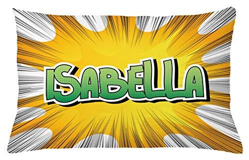 ABAKUHAUS Isabella Sierkussensloop, American Naam van de Geboorte, Decoratieve Vierkante Hoes voor Accent Kussen, 65 cm x 40 cm, Geel Groen en wit