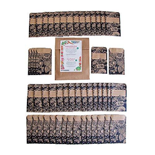 Samentütchen, Flachbeutel, Mini-Geschenktüte zum Selbstbefüllen und Beschriften für eigenes geerntetes Saatgut, Geschenke, Globuli - 50 Stück aus braunem, bedrucktem Packpapier