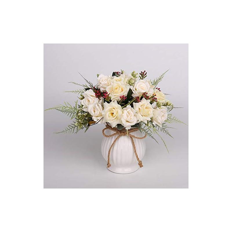 silk flower arrangements yibelaat rose bouquet with vase artificial faux silk flower arrangement for table centerpiece decor