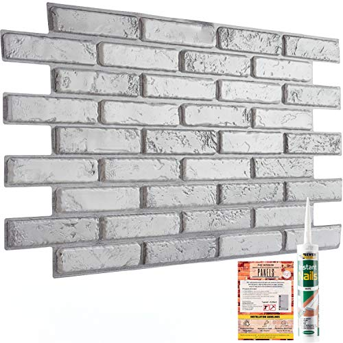 Decorative Wall Panels Grey Classic Brick Slate 3D Effect - 10 Sheets | 4.9 sqm | 52.53 sqft PVC Plastic Cladding Panelling