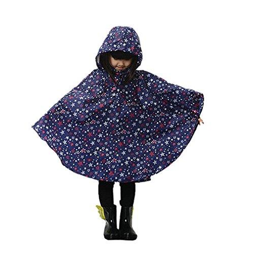 LOSORN ZPY Kinder Mädchen Stern Regenjacke Regenmantel mit Kapuze Wasserdicht Softshelljacke Regenponcho blau S(80-100 CM)