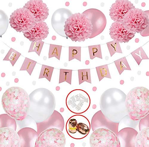 Hook Geburtstagsdeko Mädchen, Happy Birthday Girlande Ballons Banner Set mit Deko Geburtstag, Deko Kindergeburtstag, Seidenpapier Pompoms Rosa und Rosa Ballons für Mädchen Freundin Tochter