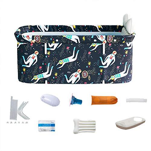 Bañera plegable portátil, bañera de spa plegable para adultos, bañera independiente de 47 pulgadas, bañera de hielo no inflable, espuma de aislamiento gruesa para mantener la temperatura (Astronaut)