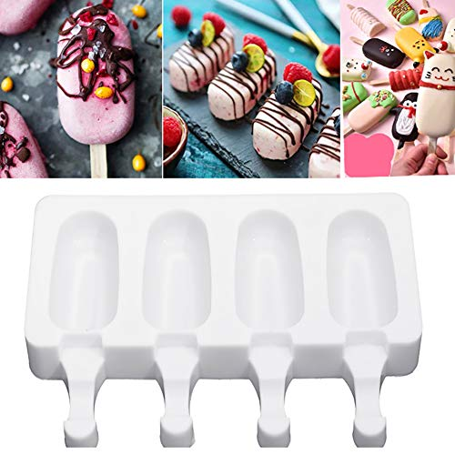 vwlvrsco Non-toxic 4 Cavities Food Grade Silicone Ice Cream Mold Maker Freezer DIY Cooking Cake Baking Tools White Small
