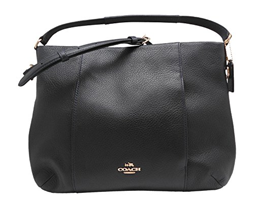 Coach F35809 pebble leather east west Isabelle shoulder handbag midnight Blue