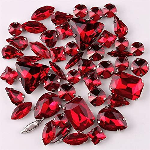 Marcha de Plata Ajuste 50 unids/Bolsa Formas Mezcla Dark Red Glass Crystal Coser en Rhinestone Vestido de Novia Zapatos Bolsa DIY RECORT (Color : Dark Red)