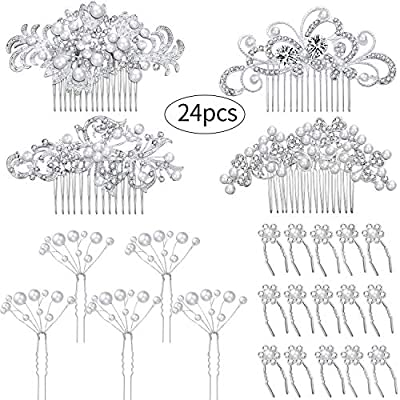 24 Pieces Wedding Bridal Hair Combs Crystal Pearl Rhinestone Hair Clips Side Hair Accessories Pearl Hair Pins for Brides and Bridesmaids (Pattern Set 2)