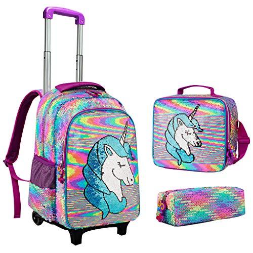 Zaino Unicorno per Ragazze Zaino Trolley, Set di 4 pezzi Zaino Paillettes Zaino con Carrello Borsa a Tracolla e Astuccio Zaino Scuola Elementare Media per Bambini Adolescenti