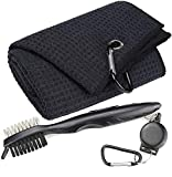 Aebor Golf Towels, Microfiber Waffle Pattern Tri-fold Golf Towel - Brush Tool Kit with Club Groove Cleaner, with Clip Men Women Golf Gifts (Black Towel+Black Brush)