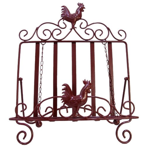 LL Home 21677 Metal Rooster Book Easel Page Weights, One Size, Dark Red