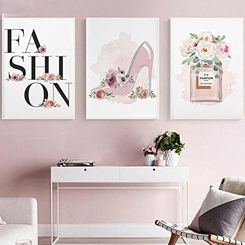 cuadros decoraciónCartel de moda Flor Rosa Tacones altos Impresión de lienzo Perfume Maquillaje Arte de la pared Pintura en lienzo Imagen moderna Chica Mujer de la habitación | 40x60cmx3 Sin marco
