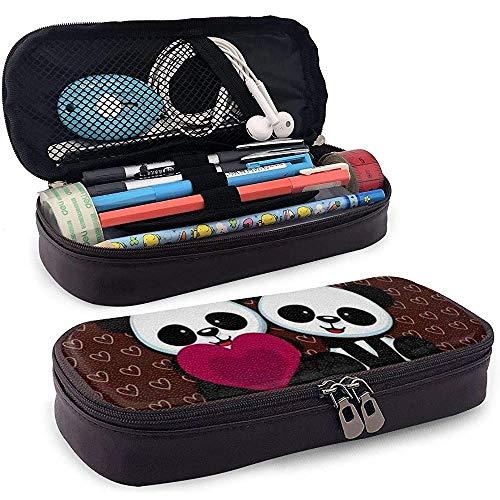 Stationery Bag Panda Behang voor jongens, organizer, potloodzakje, hoogwaardige meisjes, briefpapier, PU-leer, unieke studenten, multifunctionele cosmetica, make-uptas, cadeau