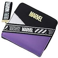 [マーベル]MARVEL ウォレット 二つ折り 斜めロゴ ゴールドプレート ラウンドファスナー ブラックパープル
