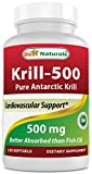 Krill Oil 500mg 120 Softgels - 100% Pure Cold Pressed Antarctic Krill Oil - Highest Levels of Omega-3s in the Industry - Contains High Concetration of Astaxanthin - Higher in Omega 3 than Fish Oil - Great for Maintaining Cardiovascular Health* - Supports