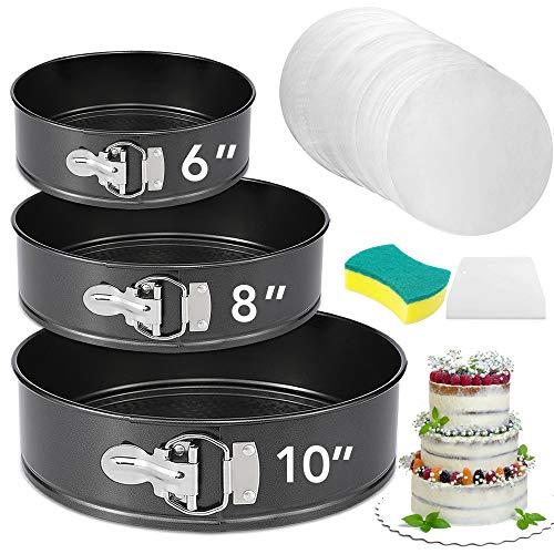 """Springform Pan Set of 3 Nonstick 6"""" 8"""" 10"""" Cake Pans,Leakproof Round Cake Pan Set with 3 Springform Pans,Bakeware Cheesecake Pan,Springform Cake Pans with Removable Bottom and 60pcs Parchment Paper"""