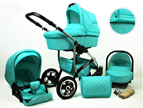 Pushchair Pram Stroller 3 in1 2in1 Isofix Set autozitje Q-Bus 12 Kleuren door ChillyKids 4in1 car seat +Isofix Munt