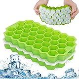 QcoQce Eiswürfelform Silikon, 2 Packs Eiswürfelschale Silikonform mit Deckel 74 Fach Eisform Ice Cube Tray Eisformen BPA Frei Eiswürfel Form für Family, Party und Bars (Grün)