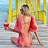 TSP Vestido floral rosa para mujer, manga abullonada, ajustable, espalda ajustable, vestido de fiesta, vestido de primavera, verano, vestido de mujer 2021 (tamaño: M)