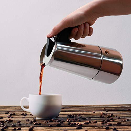 Business XXII Cafetera Italiana. Cafetera Acero Inoxidable 6 Tazas (300ml). Cafetera Moka Plateada. Ideal para Utilizar en la Oficina y/o en casa