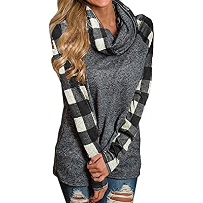 Tsmile Womens Turtleneck Cowl Neck Tops Plaid Patchwork Shirts Oversized Tunic Long Sleeve Pullover