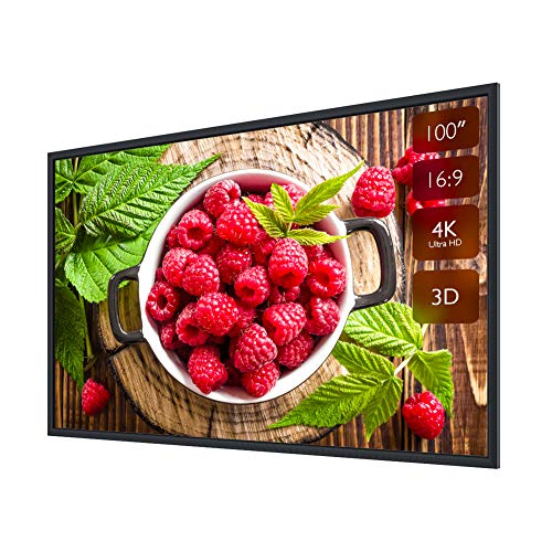 """Fixed Projector Screen 100inch with Frame, Projection Screen 100"""" 16:9 4K Ultra HD Ready Wall Mounting for Indoor Movie Home Theater Cinema Format (6 Piece Fixed Frame) Projector Screen"""