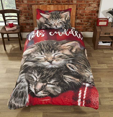 Rapport Cuddle Cats Duvet Set, Multi, Single-135 x 200 cms