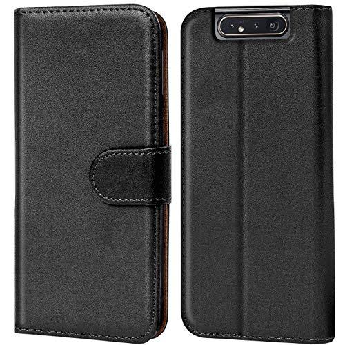 Verco kompatibel mit Samsung Galaxy A80 Hülle, Handyhülle für Galaxy A80 Tasche PU Leder Flip Hülle Brieftasche - Schwarz