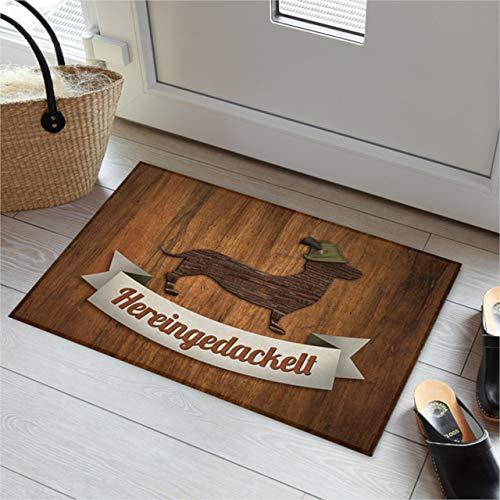 AKAH Fußmatte Jägerdackel Hereingedackelt Innenbereich Türvorleger Fußabstreifer Fußabtreter, 44 cm x 67 cm