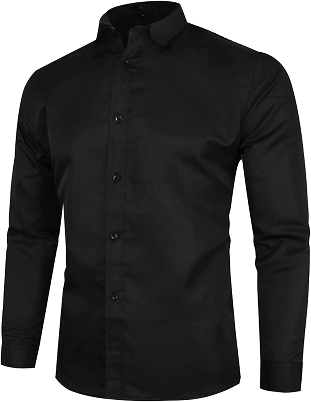 Mens Dress Shirts Wrinkle Free Regular Fit Men Solid Shirt |Dry Fit Button Down Dress Shirts - Performance Slim Fit Shirts