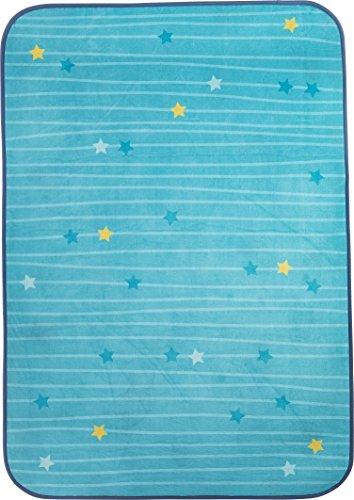 HABA 303861 - Teppich Sternenhimmel, himmelblauer Kinderteppich mit Sternen, kuschelweicher Spielteppich 90 x 130 cm, Filz-Rücken mit Antirutsch-Noppen, 30 °C schonend waschbar