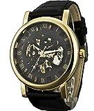 Sewor meccanico a carica manuale orologio da polso da uomo con numeri romani visualizzazione (Oro & Nero)